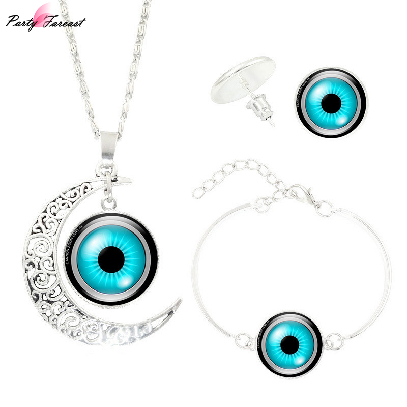 Partyfareast New Eyeball Three-Piece Time Gem Pendant Necklace Jewelry Sets Necklace Stud Earrings Bracelet Women Jewellery Set