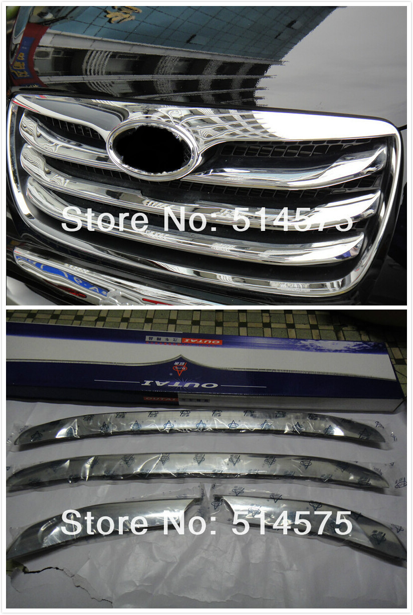 Chrome Front Grill Around Trim 4pcs for Hyundai Santa Fe 2010 2011 2012 abs chrome front grille around trim racing grills trim for 2010 2011 hyundai santa fe decorative protection
