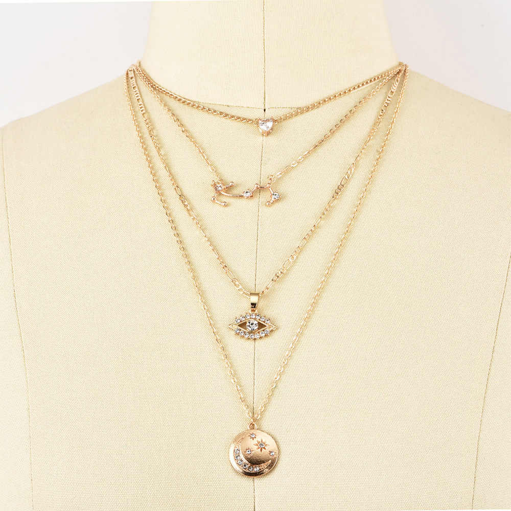 New Necklace Fashion Pop Multilayer Love Eyes Stars Moon Crystal Constellation Necklace Combination Hot Sale Jewelry Wholesale