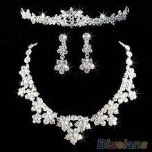 Ясно ювелирные изделия горный хрусталь кристалл пучок волос тиара ожерелье серьги 1G1X