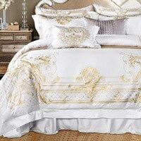 Роскошный золотой вышивкой постельное белье белого цвета из сатина набор свадебного постельного белья Королева Король 4/7 шт. пододеяльник