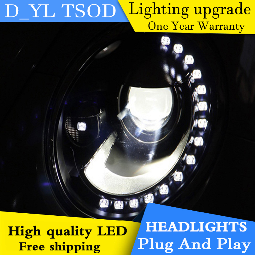 D YL Car Styling for VW Beetle Headlights 2014 2015 Beetle LED Headlight DRL Bi Xenon
