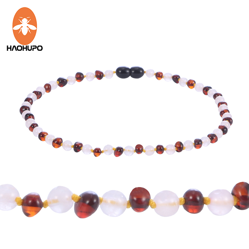 HAOHUPO Amber Necklace for Baby Teething Handmade Gift Knotted Mix Round Gemstone Beads Polished Natural Baltic Amber Jewelry