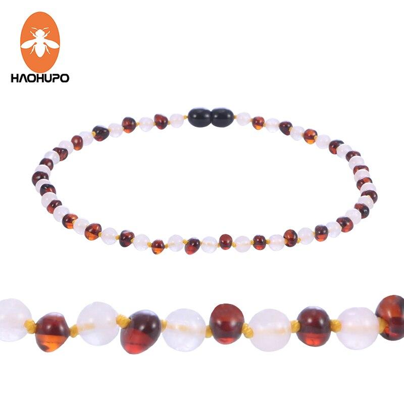 HAOHUPO Amber Цепочки и ожерелья для ребенка режутся ручной работы подарок узлом смешивания круглые бусины из драгоценных камней полированная на...