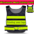 Hi vis vest logo black security vest work wear Safety Clothing Motorcycle Reflecting Racing protective Vest free logo printing