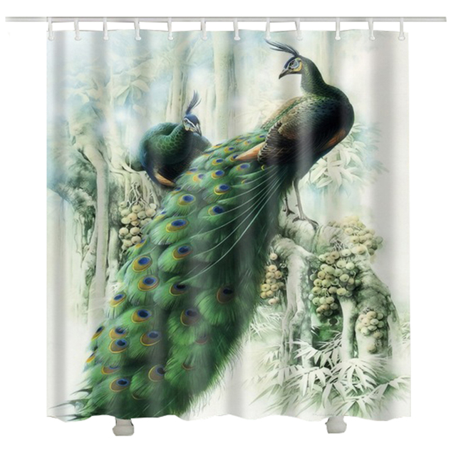 Peacock Shower Curtain Cortina Ducha Infantil Polyester Fabric 3d Animal Bath Waterproof