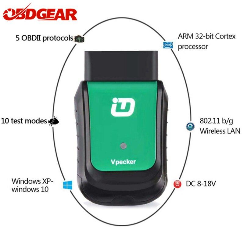 2018 Nouvelle Vpecker V10.6 Easydiag Wifi Outil D'analyse OBD2 Voiture Outil de Diagnostic Complet Systèmes OBD 2 Scanner Automobile Mise À Jour Gratuite