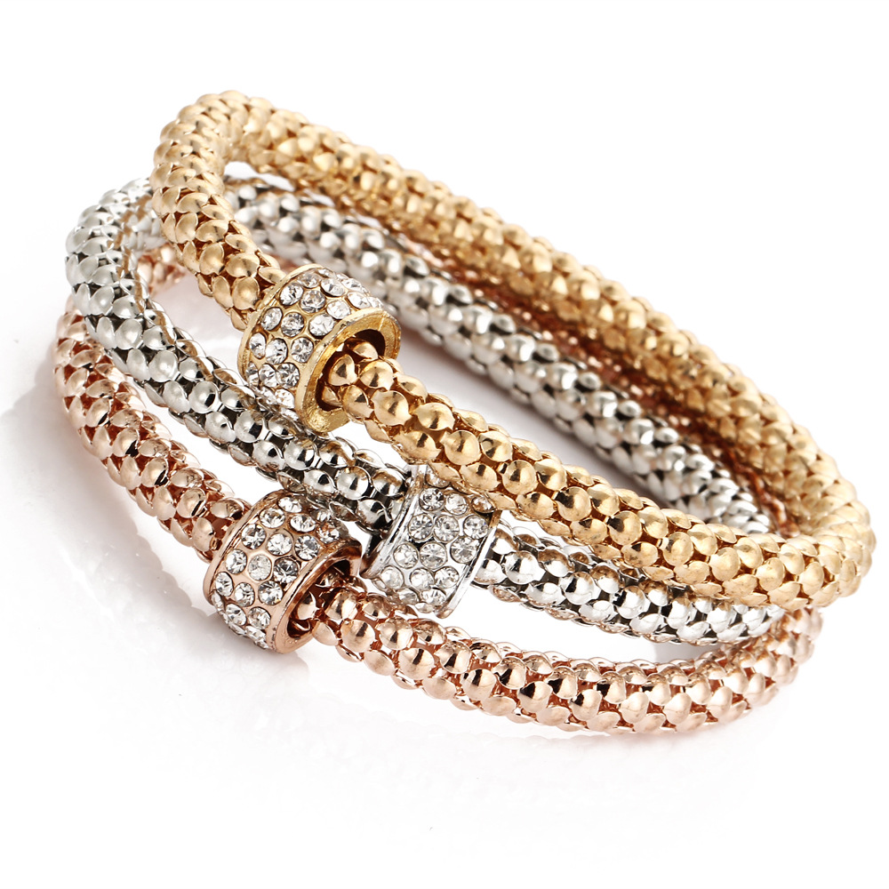 3PCS Carter Bangles Women Fashion Circle Crystal Bracelets for Women Elastic Charm Jewelry Pulseiras