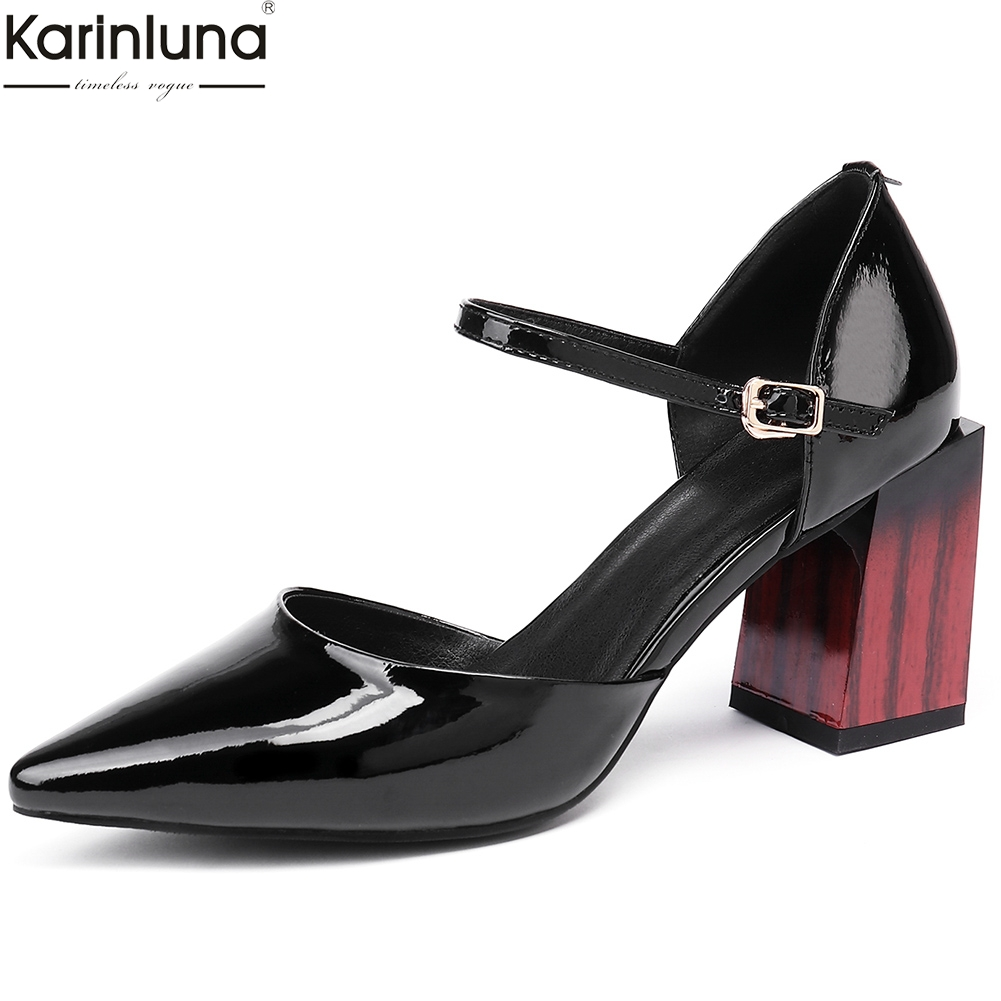 Karinluna Patent Leather Big Size 43 Genuine Leather Elegant Sandals Women Shoes Sexy Chunky High Heels Shoes Woman SandalsKarinluna Patent Leather Big Size 43 Genuine Leather Elegant Sandals Women Shoes Sexy Chunky High Heels Shoes Woman Sandals