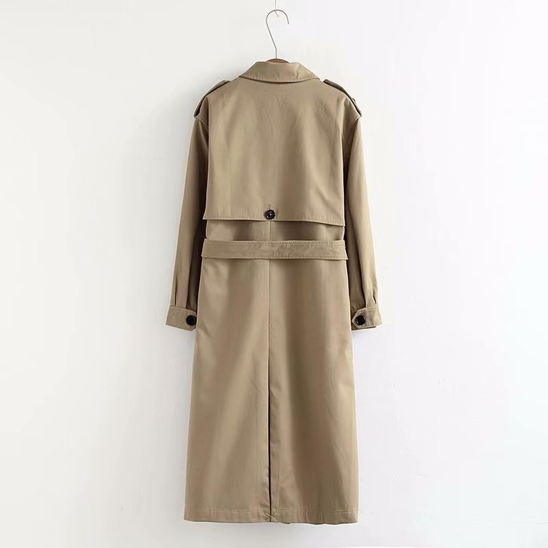 Women Casual Solid Color Double Breasted Outwear Sashes Office Coat Chic Epaulet Design Long Trench CRRIFLZ