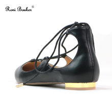 Roni Bouker Summer Women Lace Up Ballet Flats Casual Girl Pointed Toe Shoes  Cross-tied b12a1395dc84