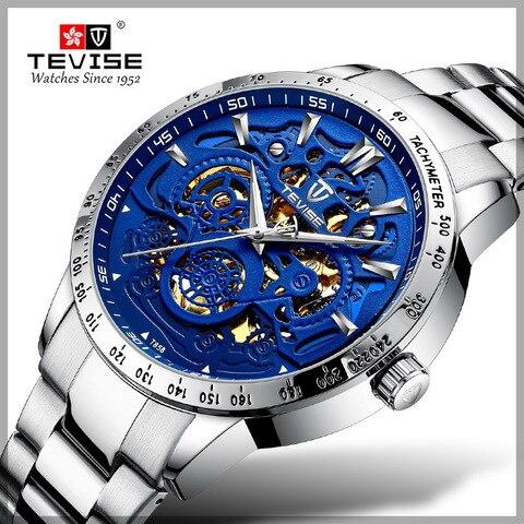 Automáticos dos Homens Relógio de Pulso Tevise Novos Relógios Mecânicos Esqueleto Relógio Masculino Marca Superior Auto Enrolamento Oco