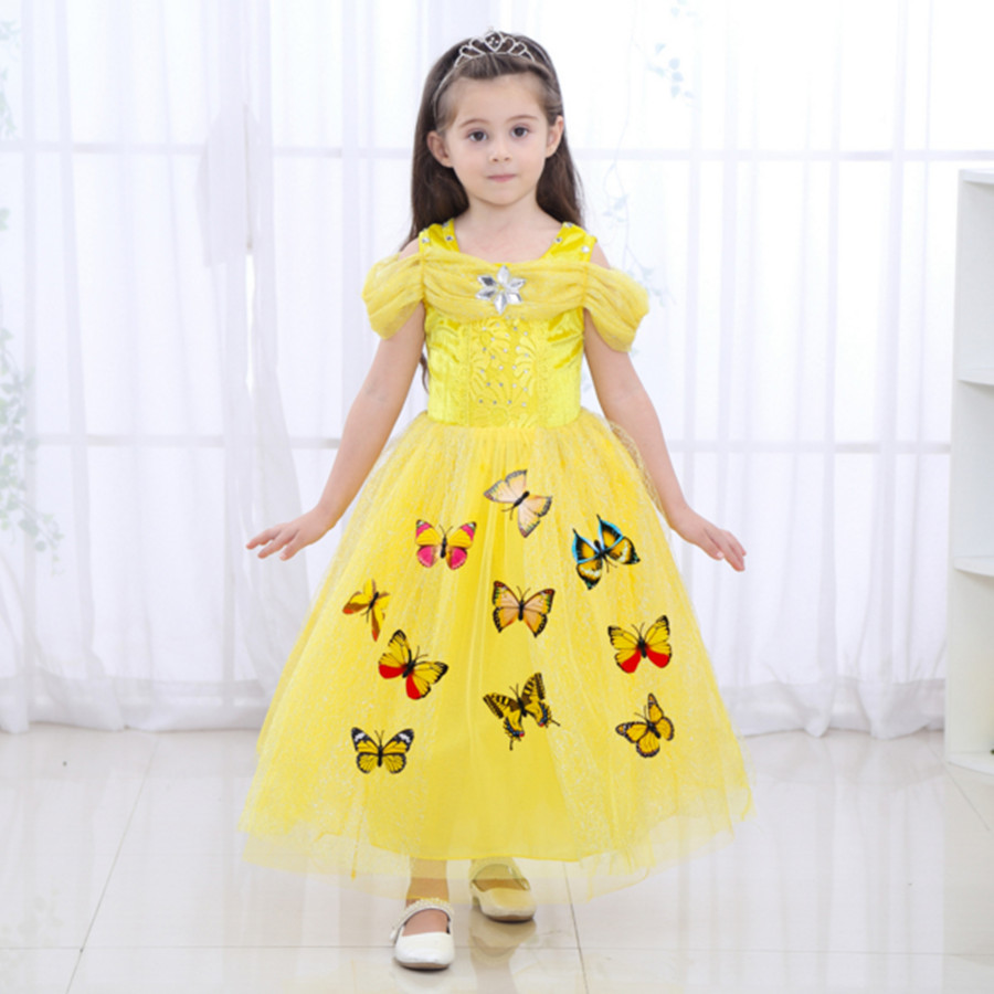 3-10Y Girls Cinderella Princess Dress Baby Girls Party Wear Clothes Halloween Christmas Costume Yellow Queen New Years Dress the flower child dress baby girls cinderella dress big girls clothing princess party dress flowers dress girls costume free ship