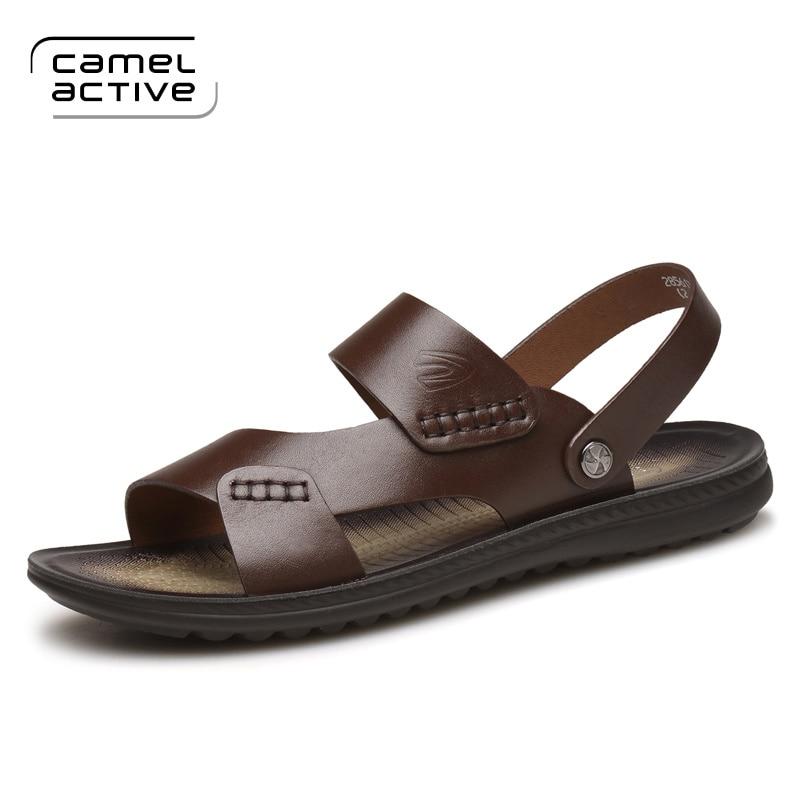 Camel Active Men Sandals Genuine Leather Men Beach Sandals Brand Men Casual Shoes Flip Flops Men Summer Shoes