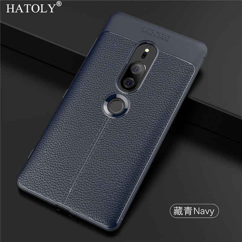 HATOLY Cover For Sony Xperia XZ2 Premium Case Soft Litchi TPU Rugged Back Case For Sony Xperia XZ2 Premium Phone Shell 5.8""