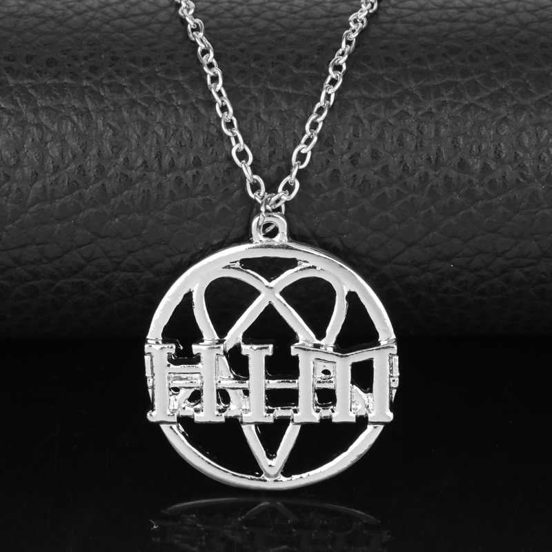 MQCHUN His Infernal Majesty HIM Heartagram Heart Pendant Necklace Fashion Gothic Rock Band Alloy Long Chain Necklace For Fans
