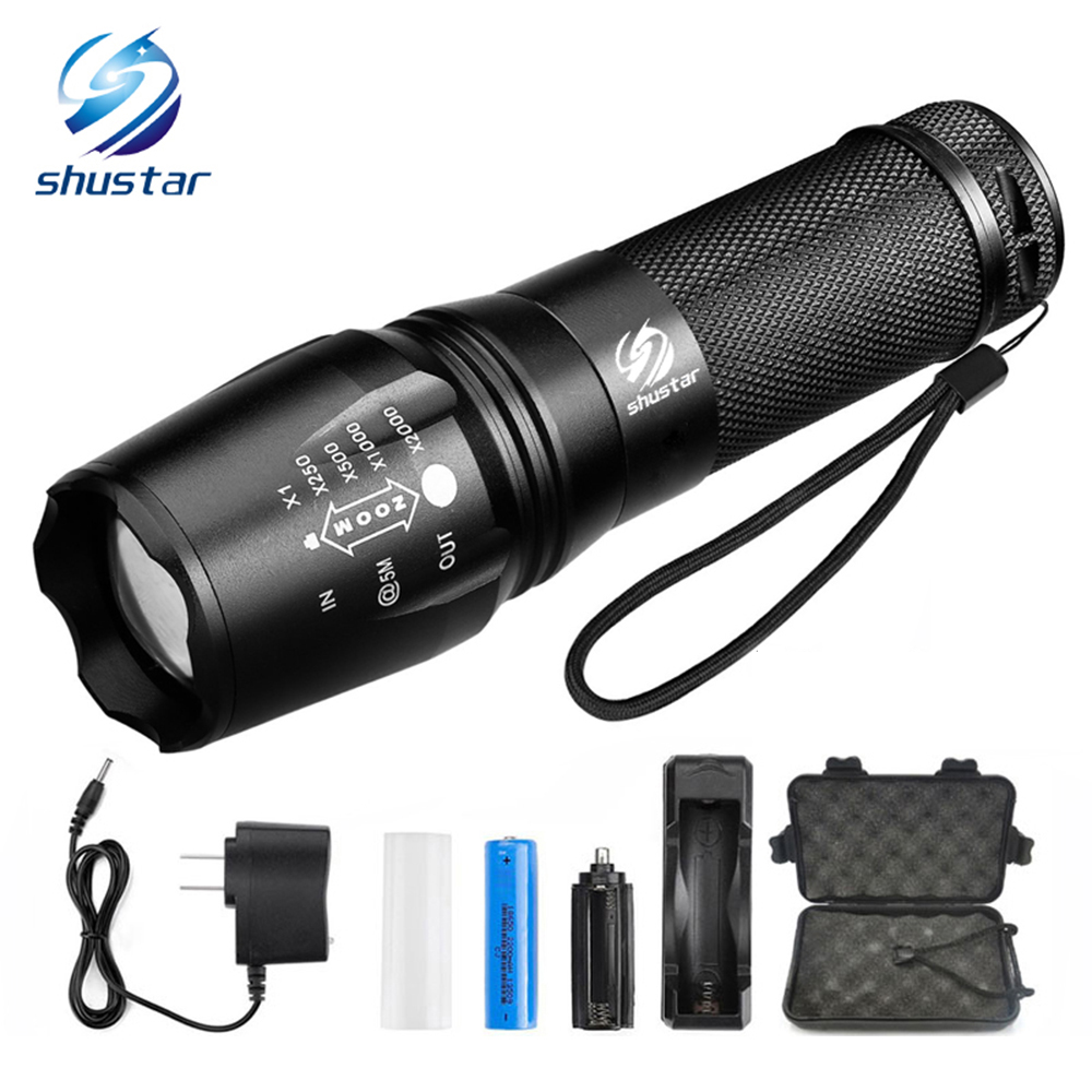 LED flashlight Tactical Flashlight 8000 Lumens T6/L2 Zoomable 5 Modes aluminum Lanterna LED Torch Flashlights For Camping waterproof 8000 lumens led flashlight lamp torch light zoomable lanterna tactical military police flashlight camping torch