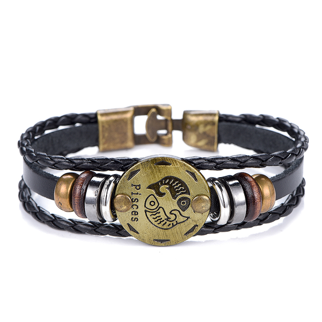 NEW Birthday Gift punk Zodiac Signs Aries Leo Bracelet Constellations charm men bracelets Virgo Pisces Pendant Women DropShiping 5