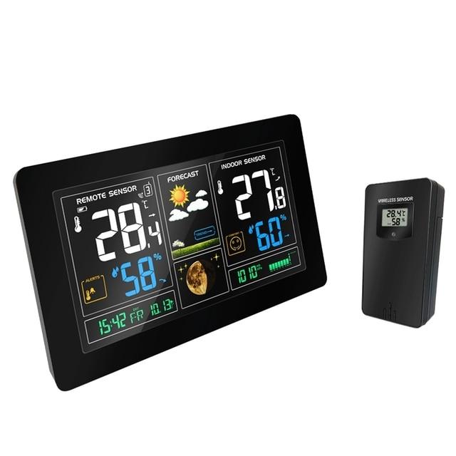 محطة الطقس اللاسلكية شاشة إل سي دي ملونة عرض توقعات الطقس بارومتر RCC الساعة في/في الهواء الطلق المنزل ميزان الحرارة رطوبة الاستشعار