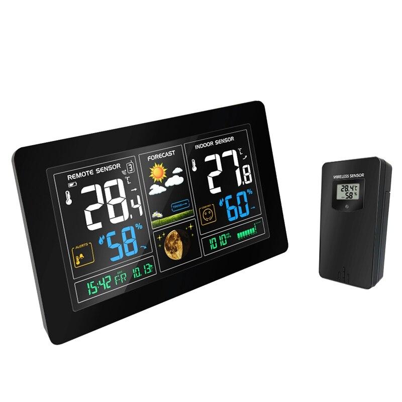 ワイヤレスウェザーステーションカラフルな液晶ディスプレイ気象予報気圧 RCC クロックイン/屋外ホーム温度計湿度計センサー  グループ上の ツール からの 温度計測機器 の中 1