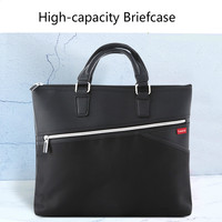 Briefcase Man's Hand held Business Document Bag PU Leather High Capacity Portable Laptop Handbag A4 Waterproof Files Tute