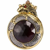 Retro Classic Fashion Bronze Golden Dragon Red Crystal Men Lady Quartz Pocket Watch Necklace Fob Chain
