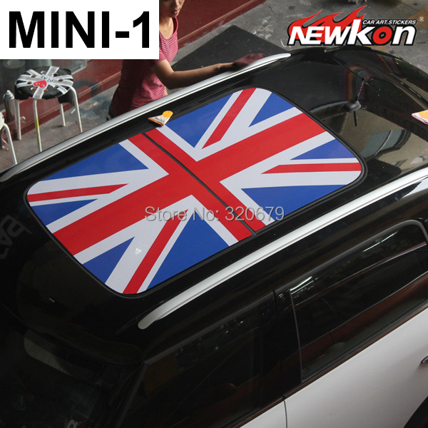 Car styling mini cooper roof vinyl graphic sunroof decal union jack style serier car stickers and