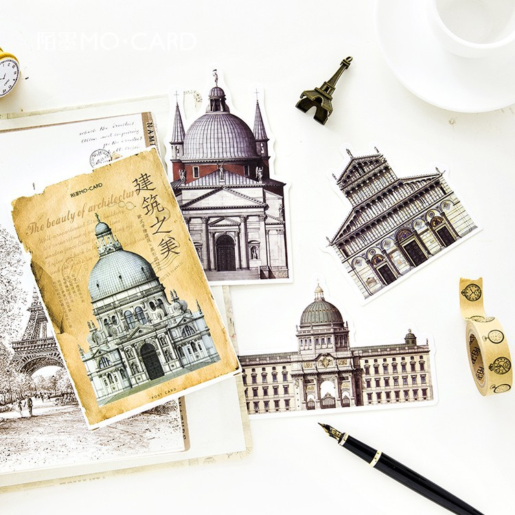 30pcs/pack Hand Painted Post Card Worlds Famous Building Postcards Letter Pads Creative Designs Gift Cards