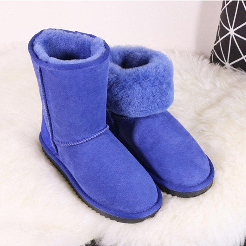 ФОТО BLIVTIAE/Luxury Brand Winter Australia Classic Sheepskin Snow Boots Natural Wool SheepFur Boots Mid Calf Tube Women Boots