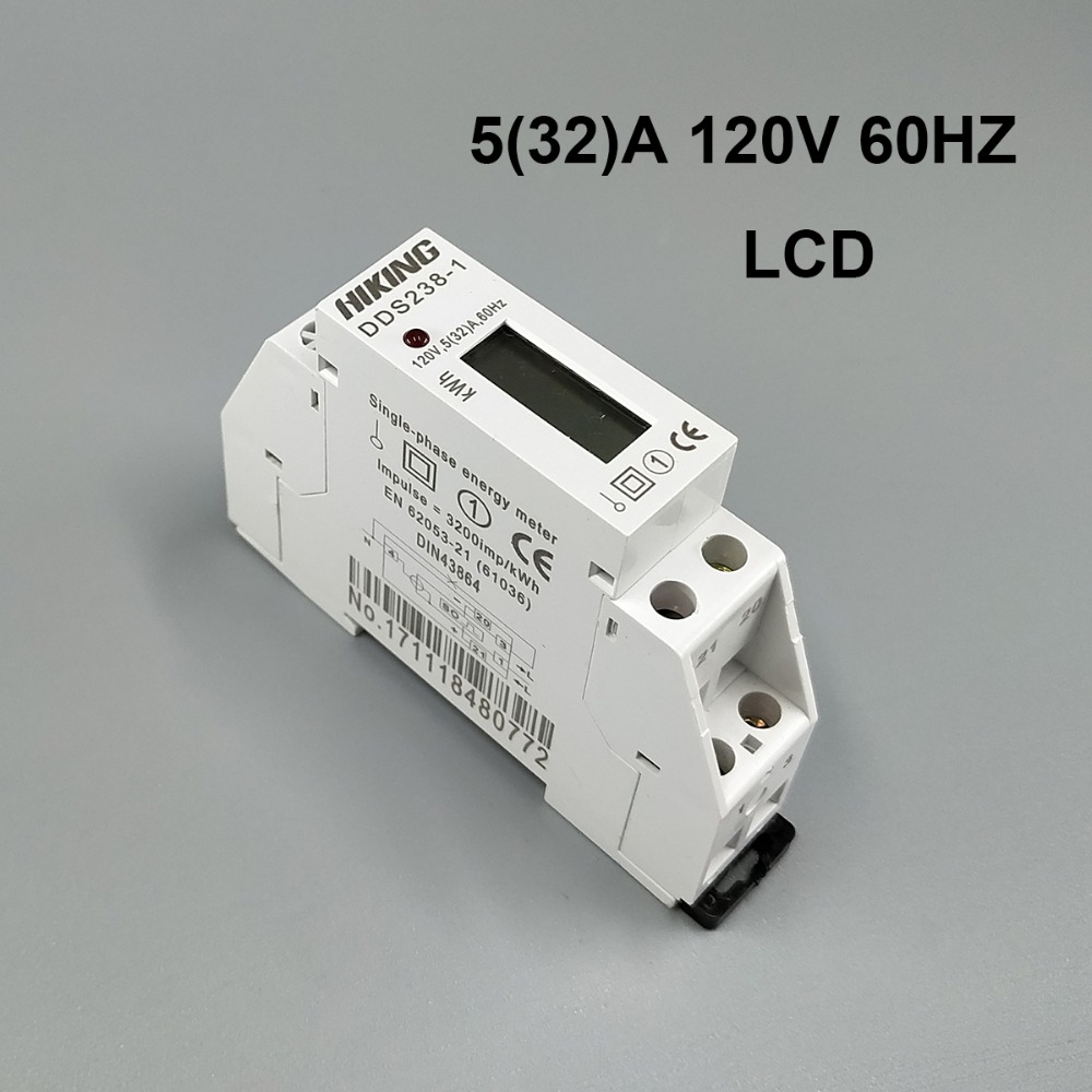 5(32)A 120V 60HZ Single phase Din rail Watt hour din-rail energy meter LCD digital disply kwh