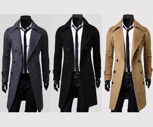 Moda para hombre invierno doble elegante Trench Coat