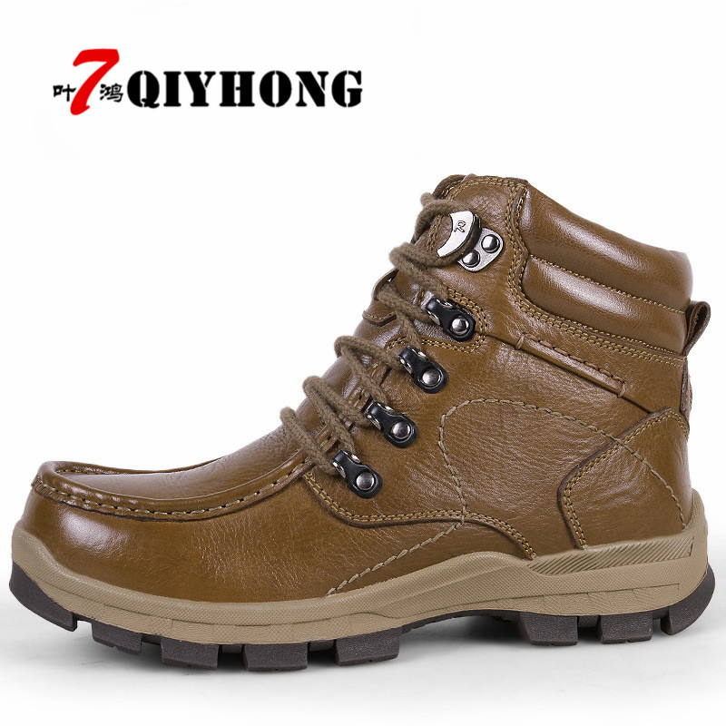 Size 38-47 Autumn Winter Handmade Genuine leather Men Boots Warm Fur Plus Winter Shoes Slip-On Ankle Boots For Zapatos Hombre mens shoes warm fur boots men casual shoes male genuine leather zapatos winter snow boots zapatillas hombre plus size 38 50