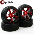 4 PCS/Set PP0150+MPNKR Rubber Tires Lacquered Wheel Rim HSP RC 1:10 Flat Racing On Road Remote Control Toy Model Car Accessories