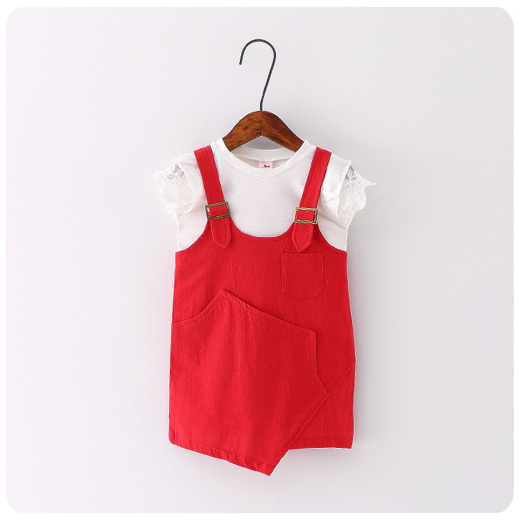 Children Suit 2016 Summer New Style Girl Suit Shirt T-Shirt Straps Skirt 2 Pieces Set Girl Baby Jacket Skirt 2016 new summer baby sport suit 100