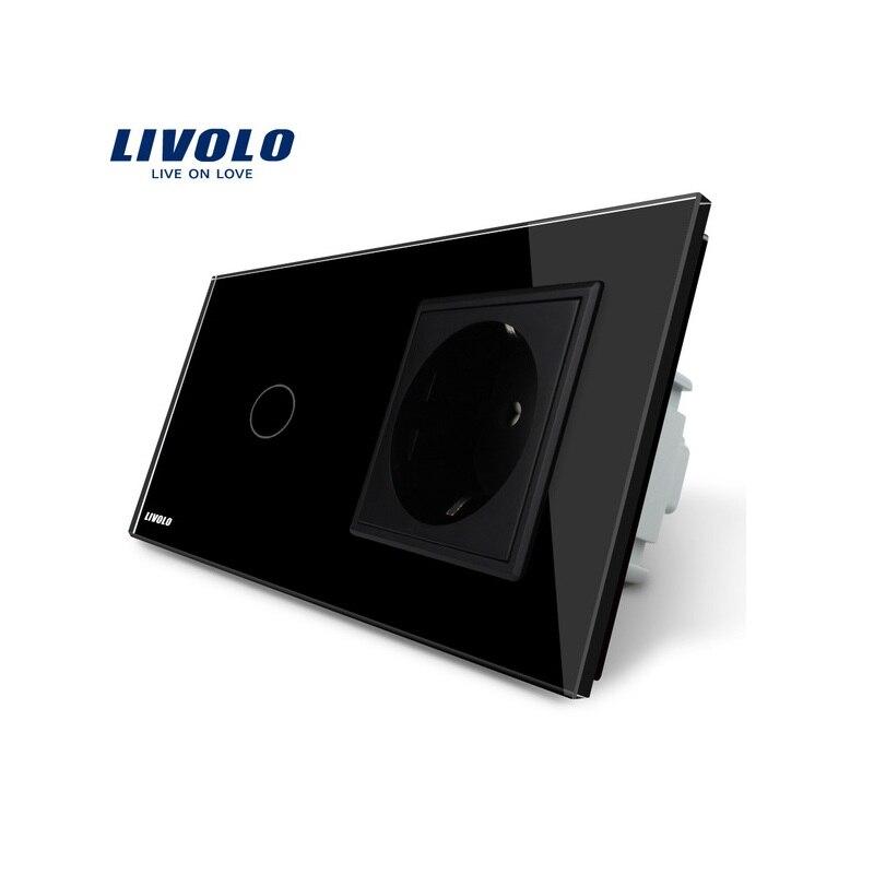 Бесплатная доставка, Livolo сенсорный выключатель с ЕС Стандартный разъем, Черный Кристалл Стекло Панель, 16A ЕС гнездо, VL-C701-12/VL-C7C1EU-12
