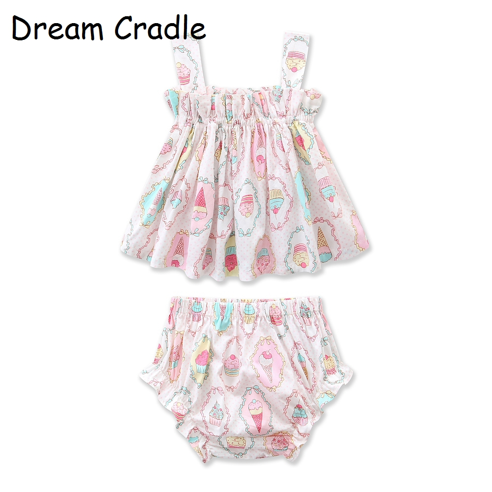 Dream Cradle, Baby Girls Outfit, Ice Cream Top Bloomers Set ,Newborn Girl Clothes