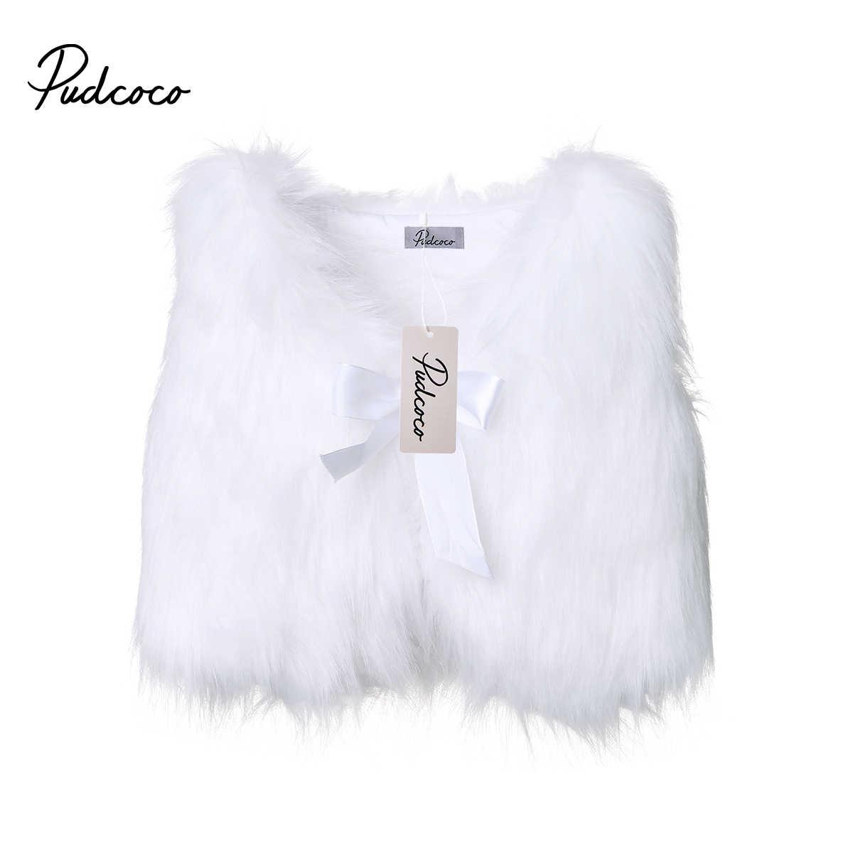 Милые детские пальто для девочек, верхняя одежда модная зимняя теплая блуза с талией из искусственного меха для малышей, безрукавка жилет принцессы