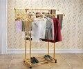 Fashion Best Gold Aluminum Alloy Racks Stainless Steel Double-Pole Stand Floor Indoor Outdoor Retractable Windproof Hangers