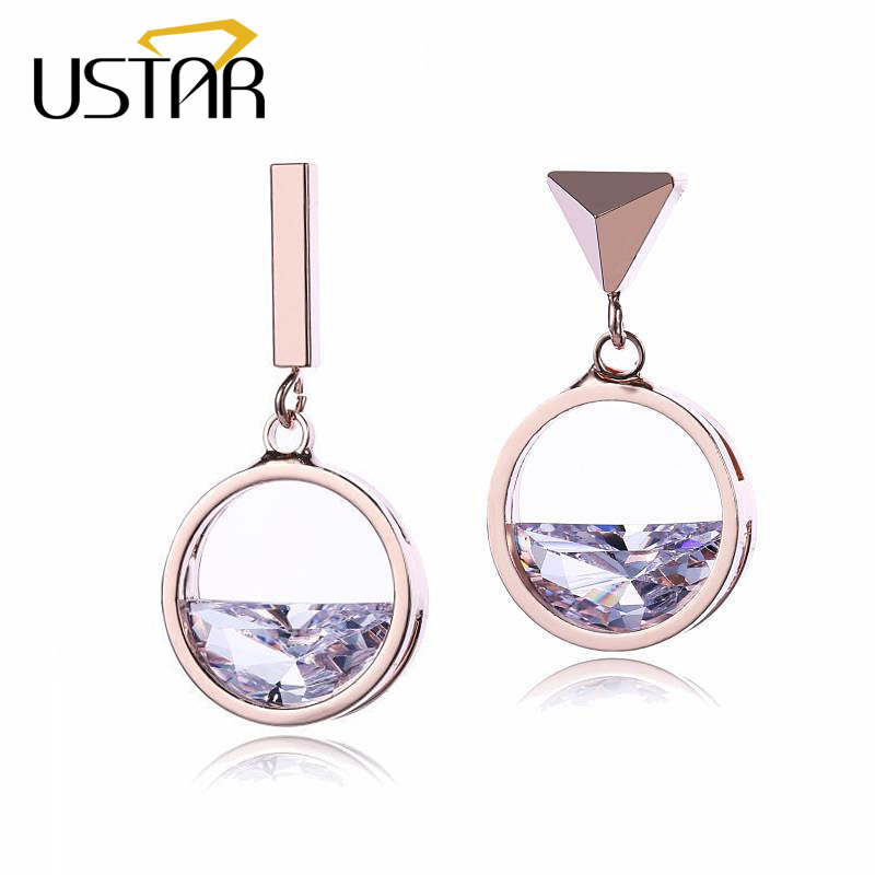 USTAR Seem a Lake Crystal Drop Earrings for Women with semi-circle AAA Cubic Zirconia wedding Jewelry Earrings female brincos