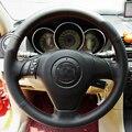 O Envio gratuito de Alta Qualidade Top Layer Couro do couro artesanal volante Costura cobre proteger Para Mazda 6/Mazda 3/Mazda 5