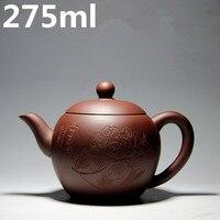Yixing Zhisha Teapots Purple Sand 275ml Tea Set Kettle Chinese Authentic Teapots Handmade Clay Tea Pot