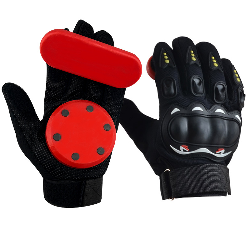 1 Pair Of Down Hill  Skateboard Gloves Long Board Friction Gloves With Protective Sliders Professional
