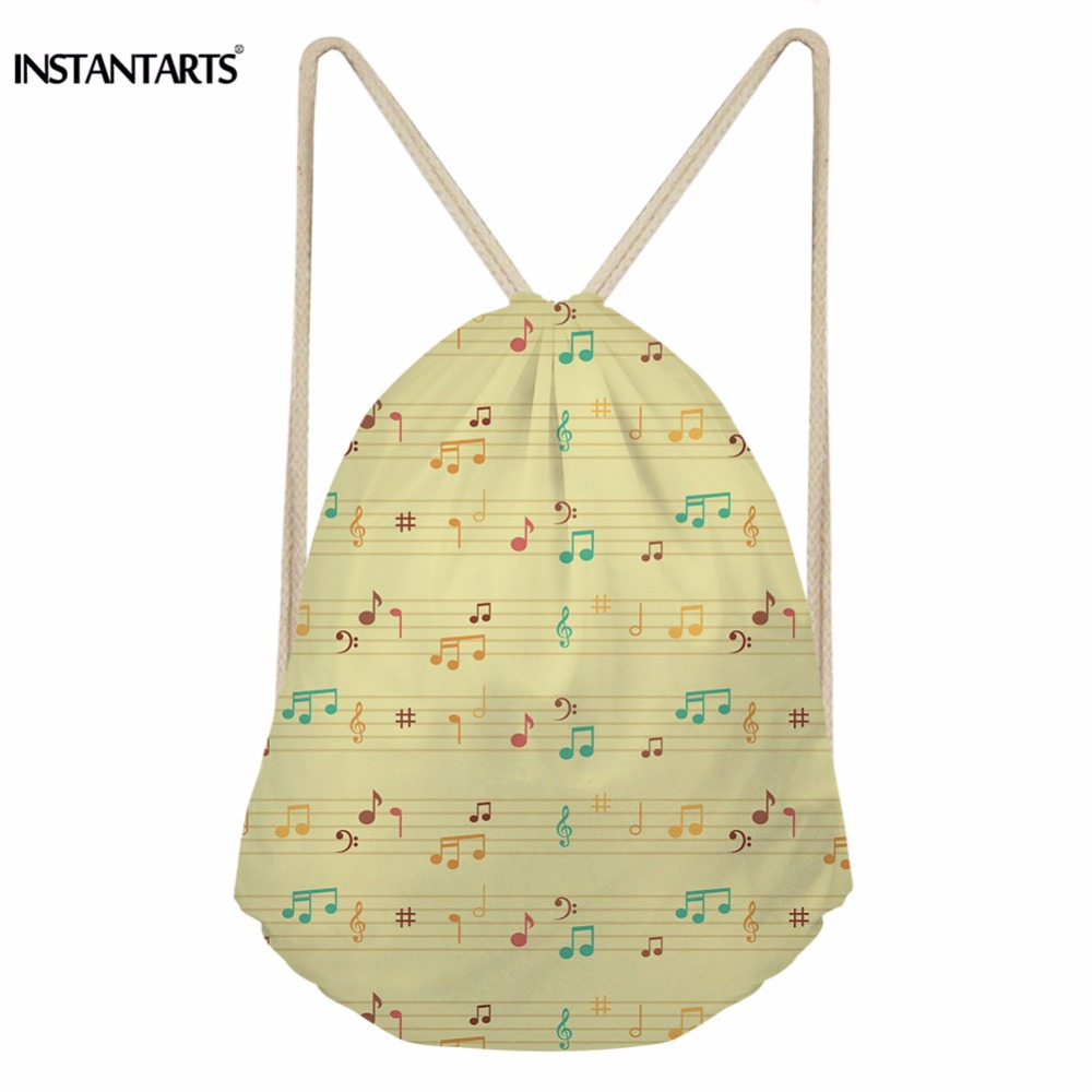 INSTANTARTS Music Notes Print Women Casual Drawstring Bag Multifunction Softback Backpack For Children Kids Sack Storage Pouch