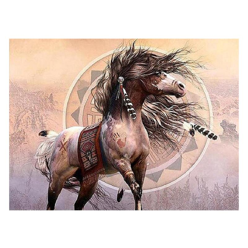 5D Bear/Horse Diamond Embroidery Painting DIY Kit Round Drill Cross Crafts Stitch Mosaic Painting Home Wall Decor