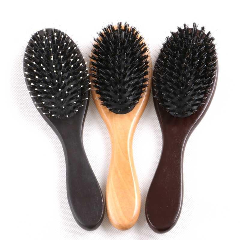 Envío gratis 1 pieza barniz color o marrón oscuro mango de madera cepillo peine para extensiones de cabello humano