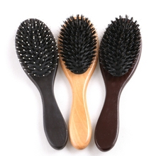 Free shipping 1 piece varnish color or dark brown wooden-handle hair comb brush for human hair extensions