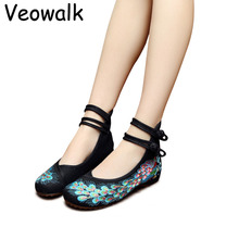 veowalk  34-41 woman flat shoes sequined peacock embroidery shoes women chinese old peking casual cloth dancing shoes
