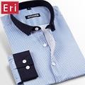 Autumn Striped Men Shirts Patchwork Black Collar Long Sleeve Casual Fashion Dress Shirt Social Brand Clothing Plus Size 4XL X146