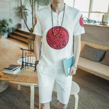 Loldeal Summer Suit Chinese Robes Embroidered Linen Short-sleeved T-shirt Shorts