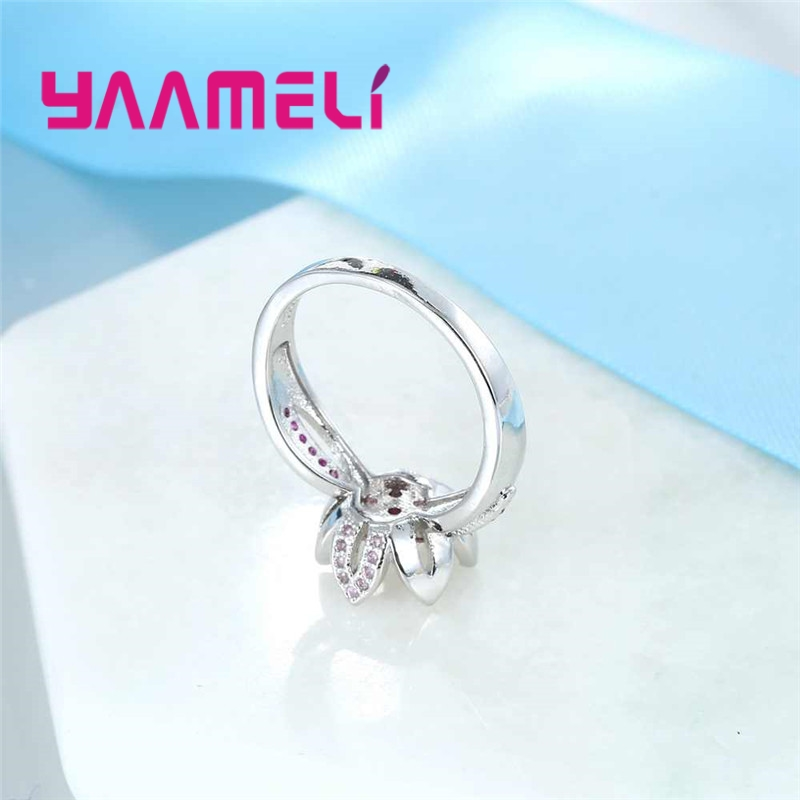 YAAMELI Sparkling Princess Wedding Rings Pure 925 Sterling Silver Zircon Lotus Flower Design Jewelry For Women Engagement Gift